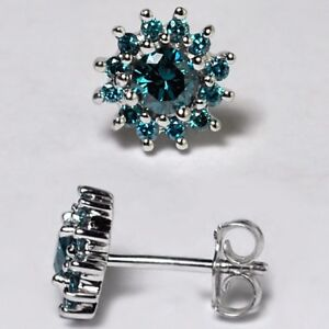 Womens-Blue-Diamond-Cluster-Push-Back-Stud-Earrings-925-Sterling-Silver-0-80-ct