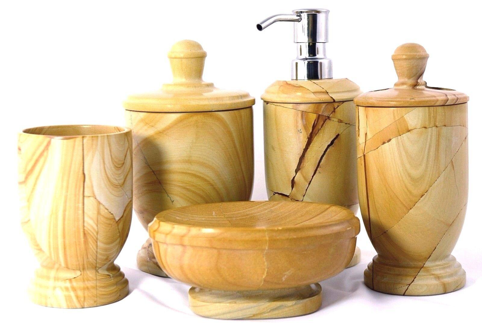 Multi Bathroom Accessory Set in Luxury Imported Beige Teakwood Marble