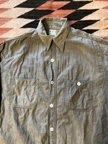 Vintage 1950's Pepperell Chambray Blue Bell Shirt