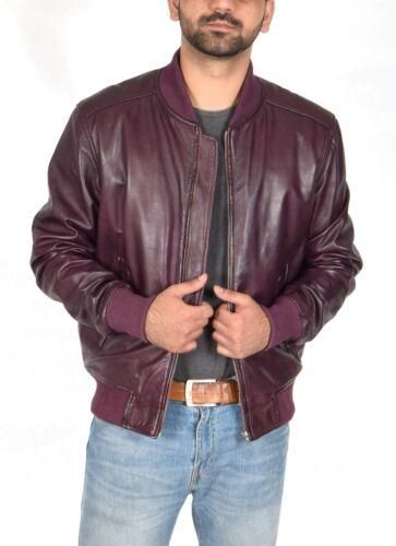 Mens Classic Fitted Bomber Leather Jacket Designer College Boy Varsity Burgundy