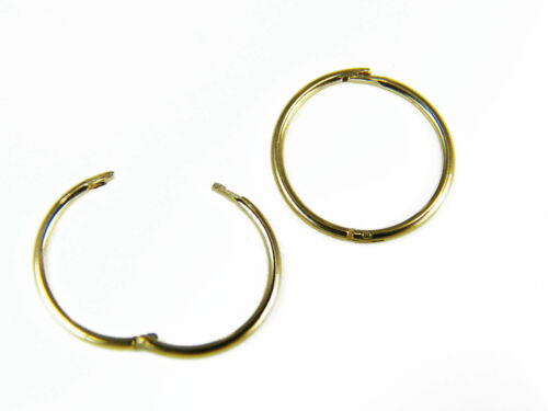 14mm  Italian Made Quality  Free Pouch 9ct Yellow Gold Hinged Sleeper  12mm
