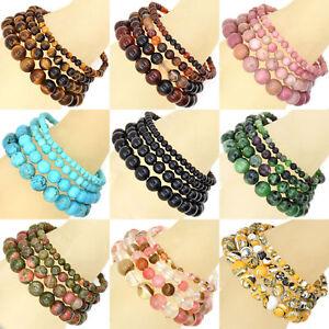 Handmade Natural Gemstone Round Beads Stretch Bracelet 6mm 8mm 10mm