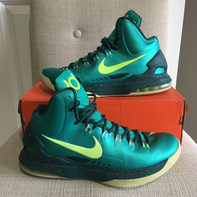 356d4f9804e1 Nike Zoom Kevin Durant KD 5 Hulk Green Bright Yellow Basketball Shoes Size  10.5