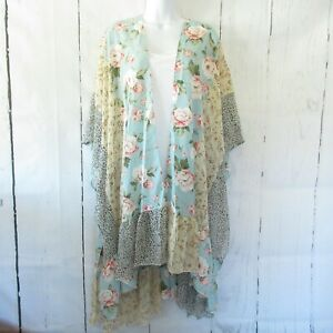 New-Gigio-By-Umgee-Kimono-L-Large-Mint-Green-Floral-Leopard-Ruffle-Boho-Peasant