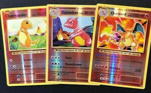 Reverse-Holo-Charizard-11-108-Charmeleon-Charmander-3-Juego-de-Tarjetas-Pokemon-Lp