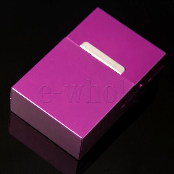 Purple Men Women Aluminum Flip Open Top 20 Pieces Cigarette Case Holder BG