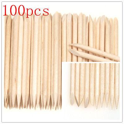 100Pcs Orange Wood Stick Nail Art Cuticle Pusher Remover Pedicure Manicure Tool
