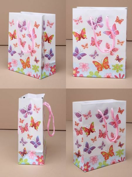 Wholesale Gift Bag Packs of 12 - Butterfly Print Gift Favour Bags Cord Handle