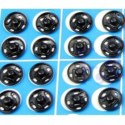 10mm or 12mm Snap Fasteners Sew On Poppers Studs Buttons Fastenings Black/Silver