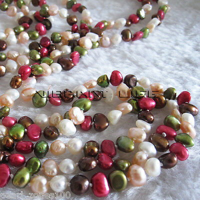 """82"""" 5-6mm MultiColor Freshwater Baroque Pearl Necklace Strands"""