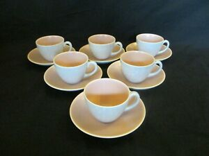 Poole-Pottery-Twintone-Peach-Bloom-amp-Seagull-6-x-Coffee-Cups-amp-Saucers-VGC