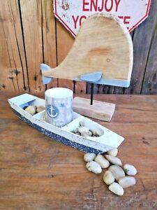 XL Deko Boot aus Holz 45 cm Schiff Wasser Meer Strand Fische Leuchturm
