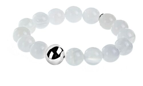 North Carolina White Azeztulite Sterling Silver Open Energy Beaded  Bracelet