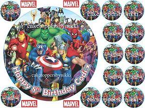 Excellent Edible Personalised Marvel Superheros 7 Birthday Cake Topper 14 Funny Birthday Cards Online Elaedamsfinfo
