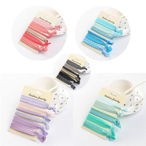 6X Mixed Haargummis Knoten Pferdeschwanz Inhaber Hairband Armbänder Gummi XJHV