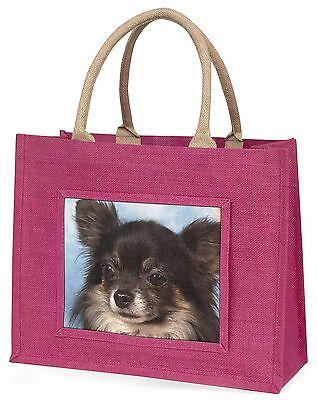 Schwarz Chihuahua Hund Große Rosa Einkaufstasche Weihnachten Geschenkidee,