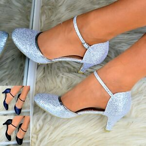 Womens Glitter Low Kitten Heel Shoes