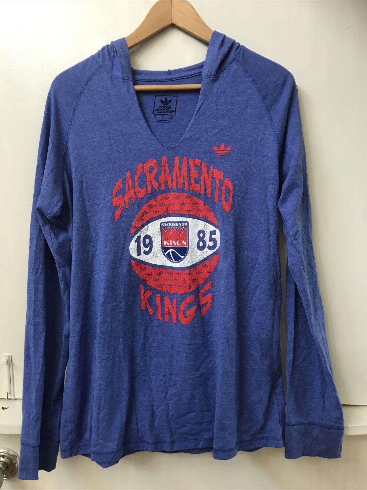 Adidas Trefoil Sacramento Kings Basketball NBA Blue Hooded Tee Top Size L