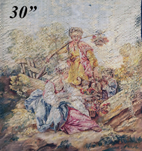 RARE-Superb-Antique-French-Aubusson-Silk-Tapestry-Panel-30-034-x24-5-034-Apres-Boucher