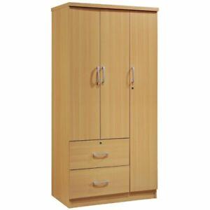 hodedah 3 door armoire with 2 drawers 3 shelves in beech ebay rh ebay com large armoire with shelves and drawers large armoire with shelves and drawers