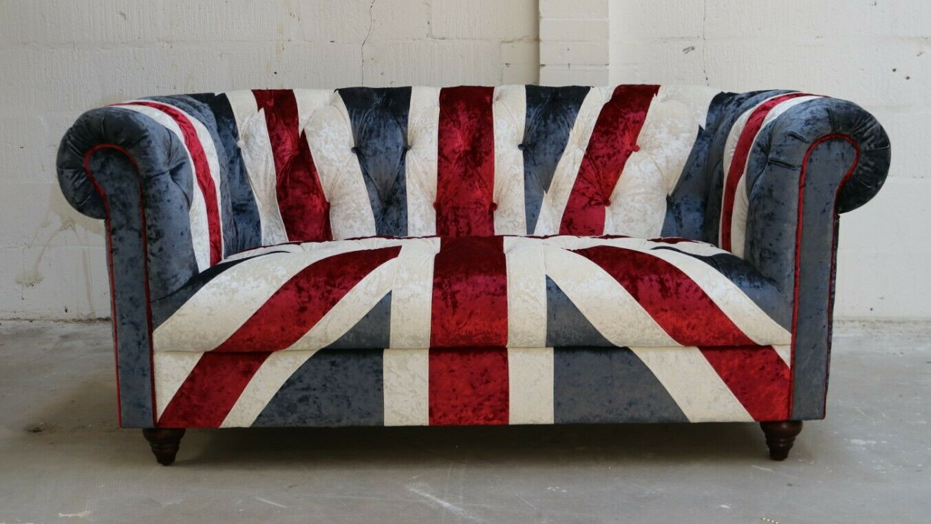 Picture of: Union Jack Chesterfield 3 Seater Bonded Leather Sofa With Bold Flag Brown For Sale Ebay