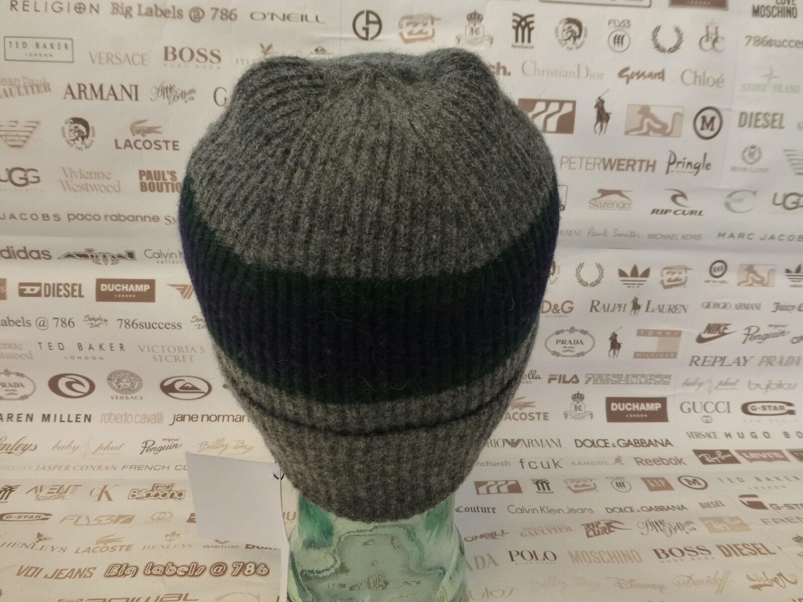 6f7fe28e595 Hackett Beanie Jacquard Block Check Turn-up Hat Blue Wool Ribbed Skull Cap