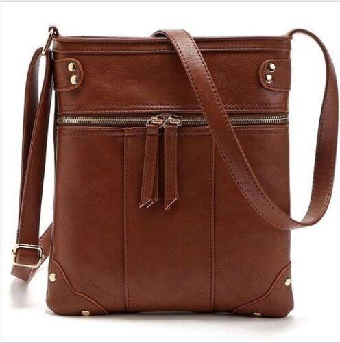 Women Leather Shoulder Messenger Bags Zipper Vintage Cross Body Casual Handbag