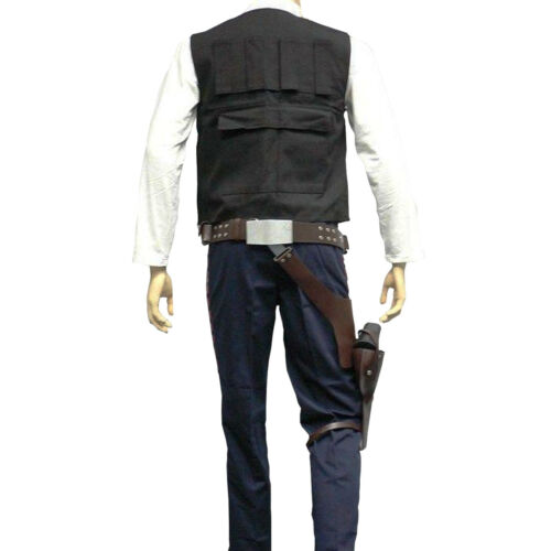 Han Solo Vest Adult Costume Star Wars Harrison Ford Movie Black New Hope Cosplay