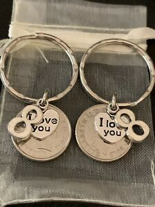 New Pair Of 8th Wedding Anniversary Gift 2012 Coin Keyrings Charms In Gift Bag Ebay