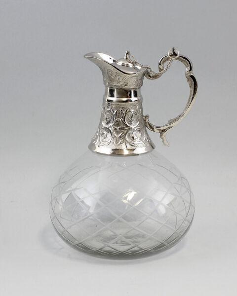 9977110 Silber-farbene Garrafe Jarra Mate Geschliff.glas Niqueladas FabricacióN HáBil