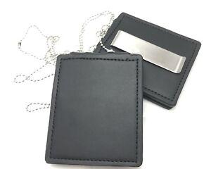 Leather-Belt-Badge-Holder-Neck-Chain-Police-Security-ID-Badge-Holder-Black