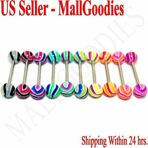 W058-Acrylic-Tongue-Rings-14G-Bars-Barbells-Wavy-Stripes-Pattern-5-8-034-LOT-of-10