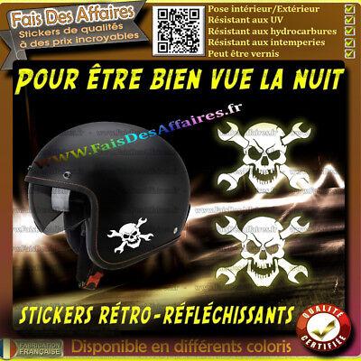 STICKER AUTOCOLLANT RETRO REFLECHISSANT TETE DE MORT CASQUE SKULL PUNISHER MOTO