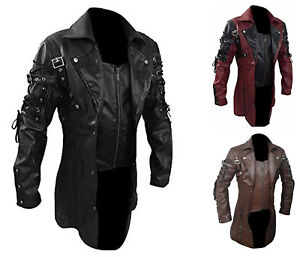 4b11b4e8da2 Image is loading Mens-Goth-Matrix-Trench-Coat-Steampunk-Gothic-Leather-