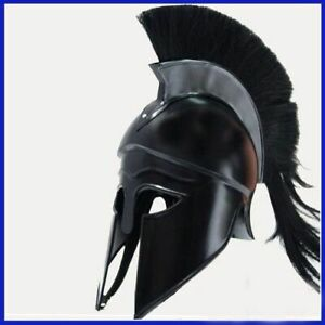 Greek-Corinthian-Helmet-w-Black-Plume-Reenactment-Costume-Knight-Armor-Larp