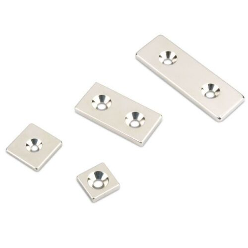 2 Senklöcher Quadermagnet 60,0 x 20,0 x 4,0 mm N35 Nickel universal