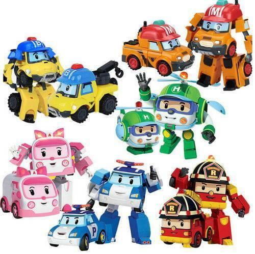 4Pcs//Set Robocar Poli Ambe Roy Helly Transformers Robot Car Toys For Kids Gift