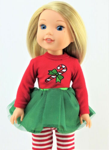 """Candy Cane Tutu Dress Leggings Fits Wellie Wishers 14.5/"""" American Girl Clothes"""