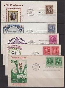 STATI-UNITI-First-Day-Copertine-859-893-Famosi-Amers-Cacheted-1940-a-Vapore
