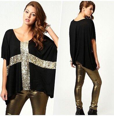 Women Sequin Cross Casual Loose Pluse Size Big Oversize T-Shirt Top Blouse M-XXL