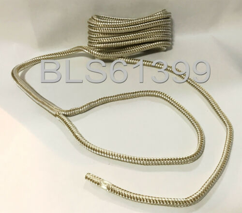 """White /& Gold Double Braided 3//8/"""" in x 25/' ft HD Boat Marine Dock Line Ropes 4"""