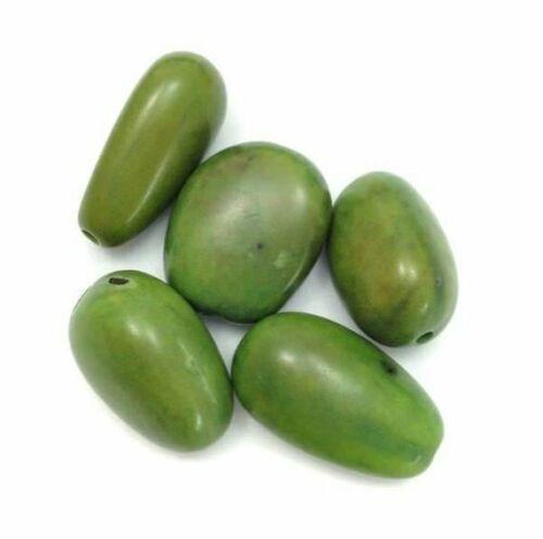 5 visola perlas verde claro 17mm 5 unidades semillas perlas visola perlas elongada oval