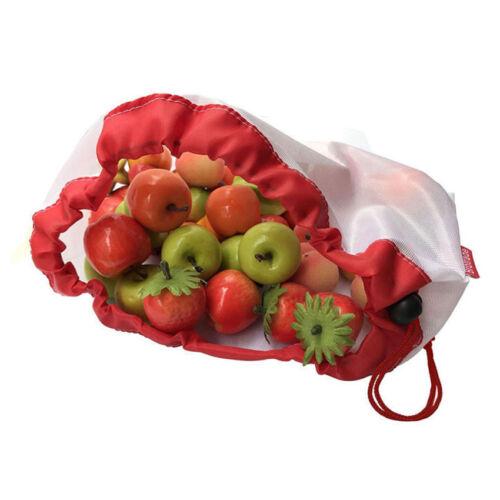5//15Pcs Reusable Produce Bags Rope Mesh Vegetable Fruit Toy Storage Pouch Pretty