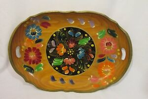 Vintage-Wood-Tray-Tole-Painted-19-1-2-039-039-x-13-039-039-Handled-Folk-Art-Floral-Mexican