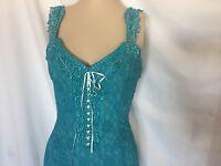 Turquoise Elegant Lace Casual, Beach, Western Wedding Attendant Dress