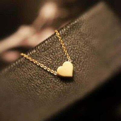 New Tiny Elegant Sweet Little Gold Love Heart Cute Short Necklace Present Gift