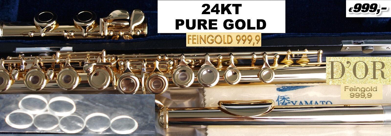 Querflöte GelbGold 999, Transverse Flute 24K Flûte Traversière OR flauta
