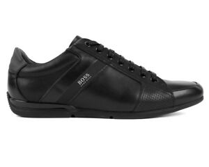 43d83a7aad6 Hugo Boss Saturn Lowp Iux4 50401835 001 Mens Trainers Black Leather ...