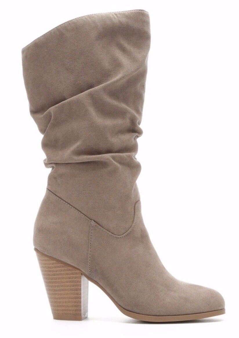 Rampage Venice 10-M Women's Mid-Calf Boots Smoky Taupe Faux Suede Boots Size 10M