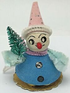 Antique spun cotton Snowman Smoker Christmas tree ornament